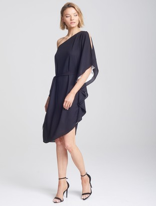 Halston Asymmetric Flowy Dress