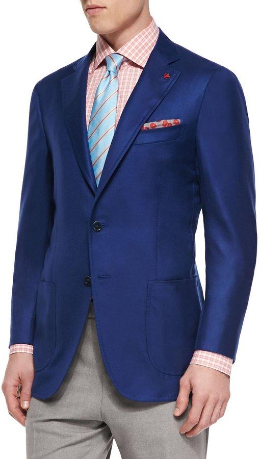 Isaia Cashmere-Silk Blazer, Royal Blue