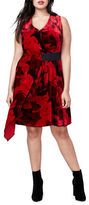 Rachel Rachel Roy Plus Draped Floral Printed Velvet Dress