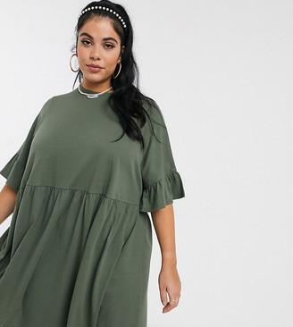 Asos DESIGN Curve super oversized frill sleeve smock dress in khaki
