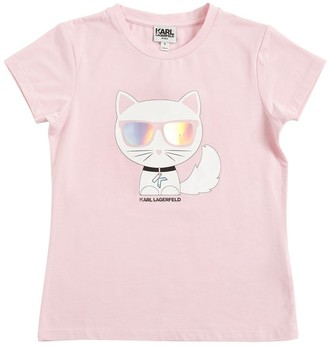 Karl Lagerfeld Paris Choupette Print Cotton Jersey T-shirt