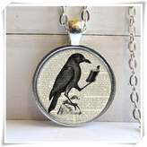 Flowers Raven Pendant, Raven With Book, Crow Necklace, Literary Jewelry
