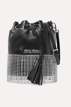Miu Miu London Night Crystal-embellished Leather Bucket Bag - Black
