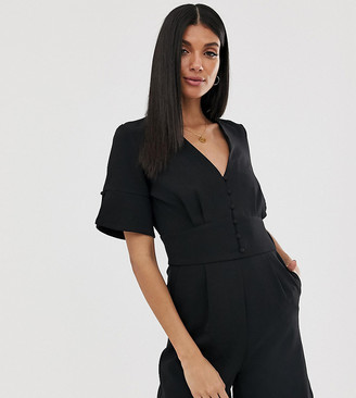 Y.A.S Tall v neck playsuit-Black