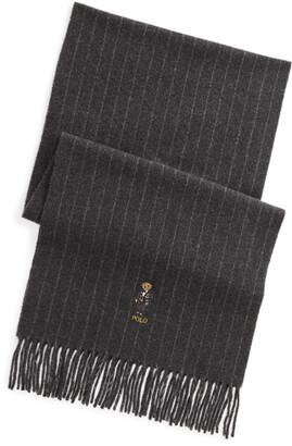 Ralph Lauren Polo Bear Pinstripe Wool-Cashmere Scarf