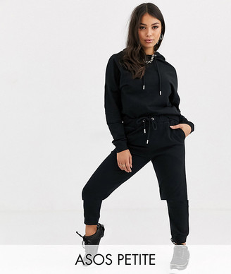 Asos DESIGN Petite tracksuit hoodie / slim jogger with tie in organic cotton-Black