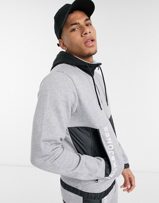 Jack and Jones Core co-ord hoodie in gray and black