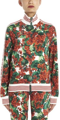 Dolce & Gabbana Floral Print Side Logo Band Bomber Jacket