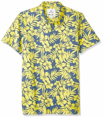 28 Palms Relaxed-Fit Hawaiian Performance Pique Polo Shirt Blue/Yellow Floral XXL