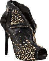 Alexander McQueen black leather studded zip front platform booties