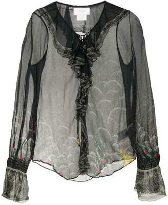 Camilla Silk Sheer Long Sleeve Blouse