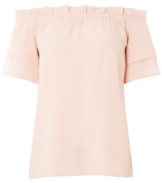 Dorothy Perkins Womens Light Pink Frill Bardot Top, Pink