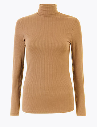 Marks and Spencer Heatgen Ribbed Polo Neck Thermal Top