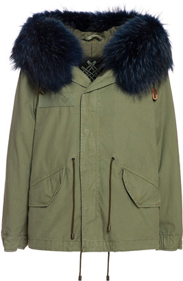 Mr & Mrs Italy Fw20 Icon Parka: Army Jazzy Mini Parka Raccoon Fur