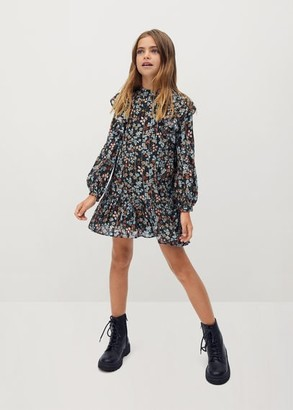 MANGO Ruffled floral print dress