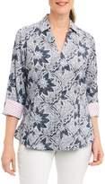 Foxcroft Petite Women's Taylor Summer Floral Shirt