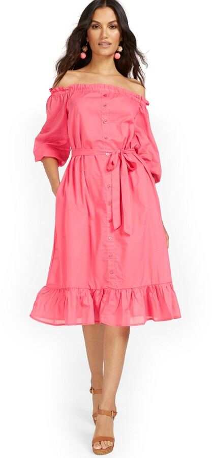 Thumbnail for your product : New York & Co. Pink Off-The-Shoulder Ruffle-Hem Dress