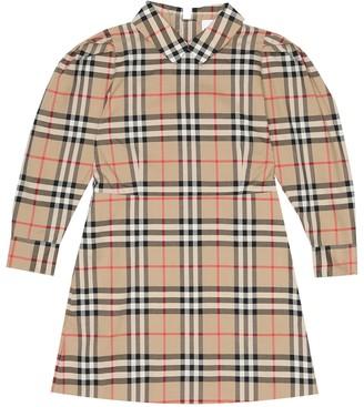 BURBERRY KIDS Checked cotton-poplin dress