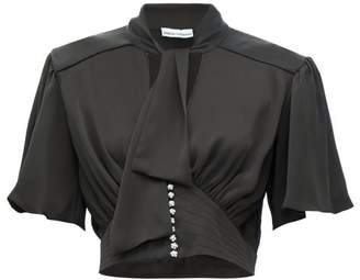 Paco Rabanne Crystal Embellished Satin Cropped Top - Womens - Black