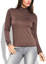 Miss June Choco Brown Turtleneck Long-Sleeve Top