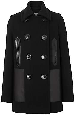 Burberry Women's Mossely Leather-Trim Wool Peacoat
