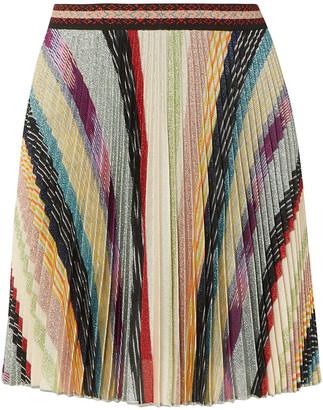 Missoni Metallic Striped Crochet-knit Mini Skirt