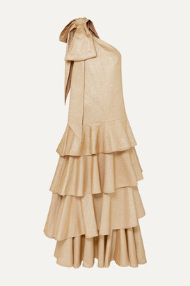 ANNA MASON Nancy One-shoulder Bow-embellished Tiered Metallic Crepe Maxi Dress - Gold