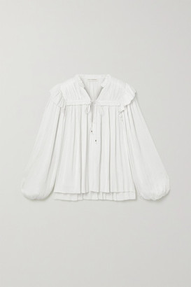 Ulla Johnson Emilda Ruffled Pleated Satin Blouse - White