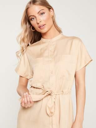 Very Button Through Tie Waist Tunic Dress - Natural