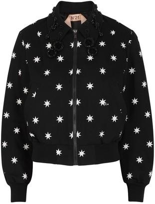 No.21 Black star-print cotton jacket