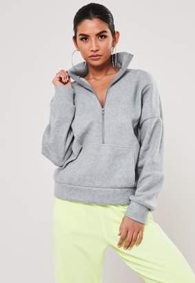 Missguided Grey Fleece High Neck Seam Detail Sweatshirt