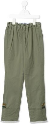 Familiar Elasticated Cargo Pants With Faux Fur Trim
