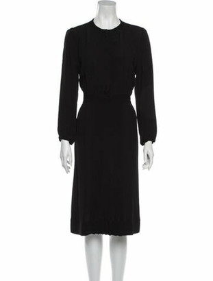 Burberry Crew Neck Midi Length Dress Black