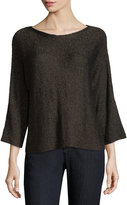 Eileen Fisher 3/4-Sleeve Shimmer-Chainette Top, Petite