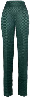 Haider Ackermann High-waisted silk-blend checked suit trousers
