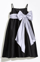 Us Angels Girl's Sleeveless Empire Waist Taffeta Dress
