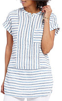 Vince Camuto Two by V-Neck Short Sleeve Blue Multi Linen Tunic