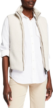Brunello Cucinelli Rib Knit & Quilted Cashmere Reversible Vest