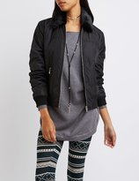 Charlotte Russe Fur Collar Bomber Jacket