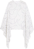 Dion Lee Printed silk-georgette top