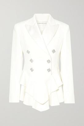 Alessandra Rich Crystal-embellished Satin-trimmed Wool-crepe Peplum Blazer - Cream