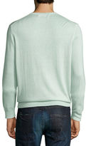 Neiman Marcus Cashmere-Silk V-Neck Sweater, Grapefruit