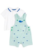 Little Me Infant Boy's Polo Shirt & Whale Overall Shorts Set