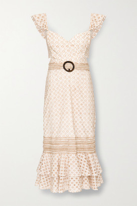 PatBO Belted Broderie Anglaise Cotton-blend Midi Dress - Beige