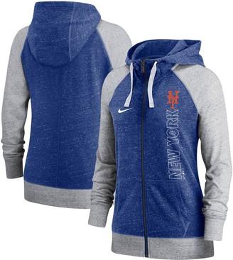 Nike Women's Royal New York Mets In Pocket Gym Vintage Full-Zip Hoodie
