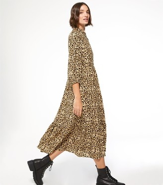 New Look Leopard Print Puff Sleeve Tiered Midi Shirt Dress