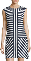 Taylor Striped Crepe Sheath Dress, Blue/White