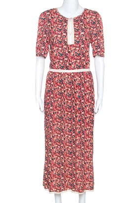 Zadig and Voltaire Red Floral Print Lace Trimmed Rivale Midi Dress M
