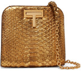 Tom Ford T Lock Small Metallic Python Shoulder Bag - Gold