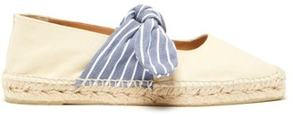 Castaner Pura Bow-tied Canvas Espadrilles - Womens - Cream Navy